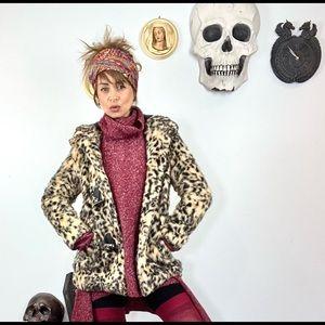 H&M hooded leopard print faux fur coat w/hood